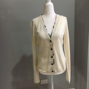 Burberry ivory wool check trim cardigan